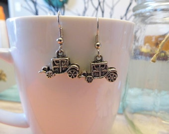 Silver Carriage Dangle Earrings