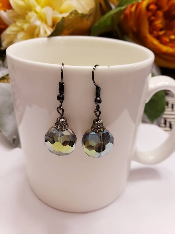 Black Metal Iridescent Crystal Drop Dangle Earrings