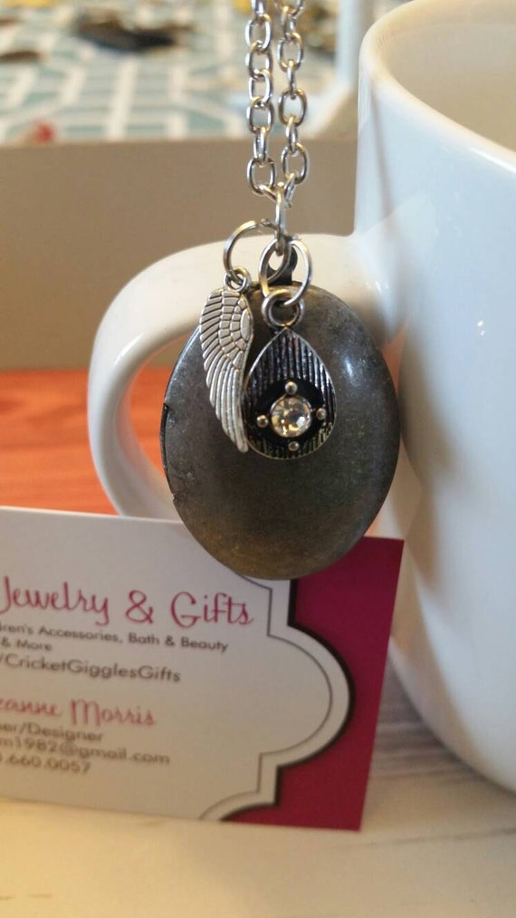 Antique Silver Oval Locket With Charm Accents Necklace