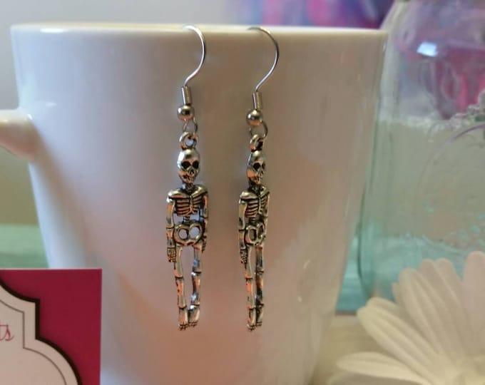 Silver Skeleton Dangle Earrings