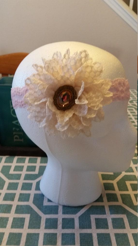 Embellished Lace Flower Headband