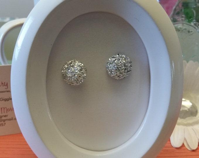 Metallic Pave Button Stud Earrings