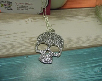 Silver and Crystal Skull Necklace