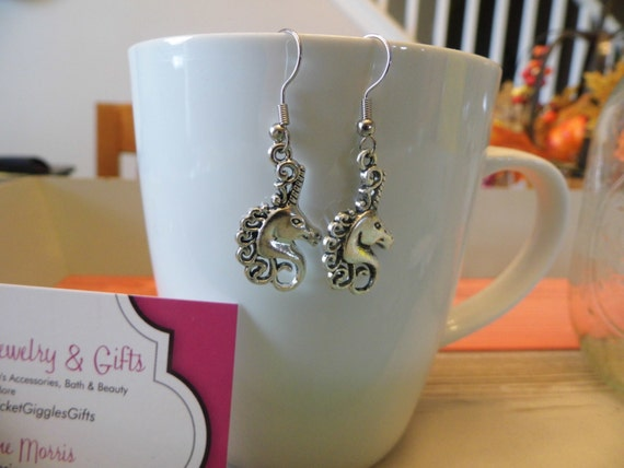 Unicorn Silver Charm Dangle Earrings