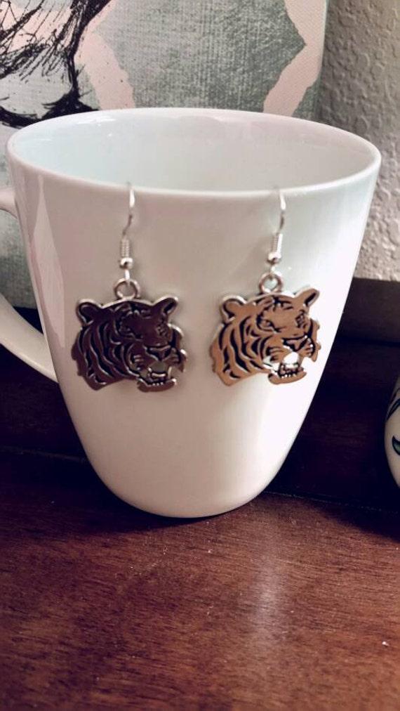 Silver Tiger Charm Earrings