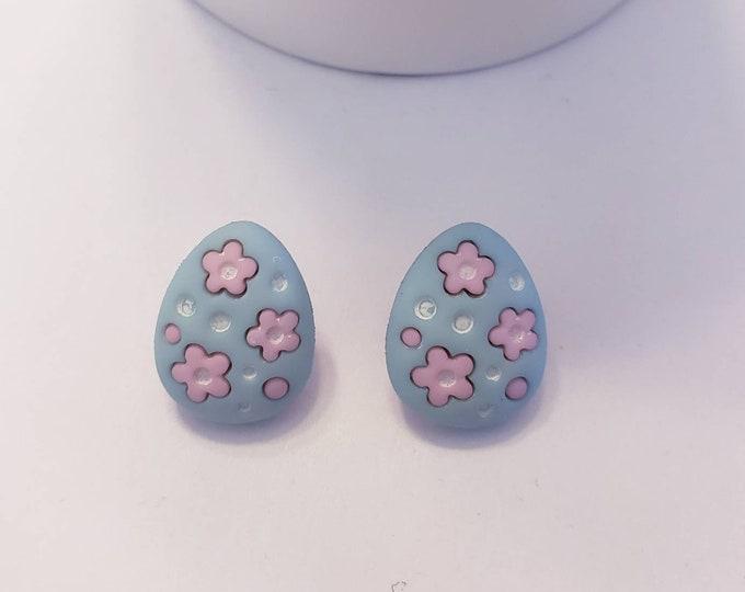 Pastel Easter Eggs Button Stud Earrings