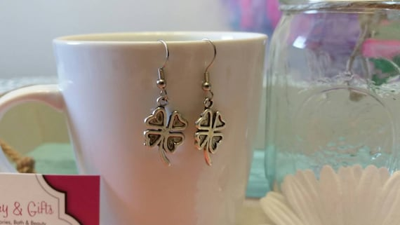 Lucky Silver Shamrock Charm Earrings