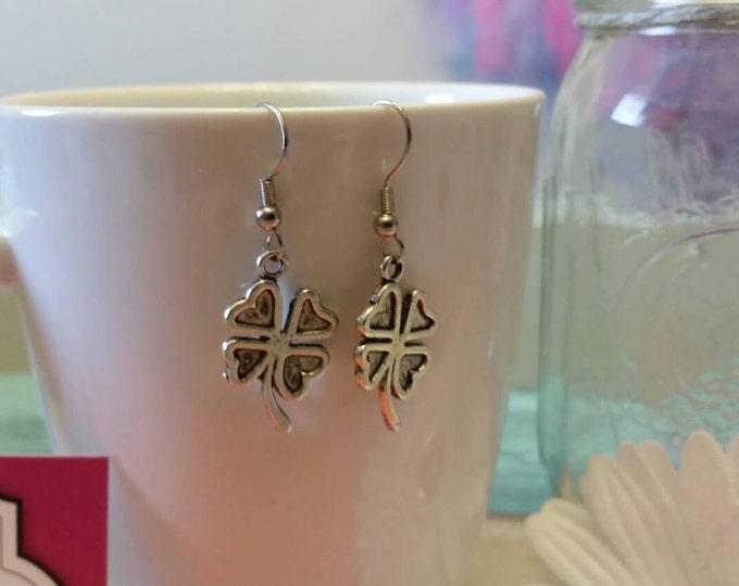 Lucky Silver Shamrock Charm Earrings