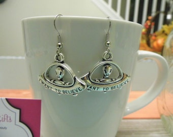I Want to Believe Alien UFO Silver Dangle Earrings