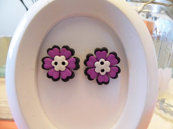 Skull Flower Button Stud Earrings