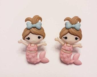 Pastel Mermaids & Sea Friends Button Stud Earrings