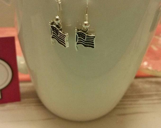 Waving American Flag Charm Dangle Earrings