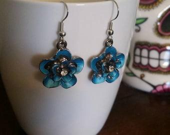 Blue Colored Flower & Crystal  Charm Dangle Earrings