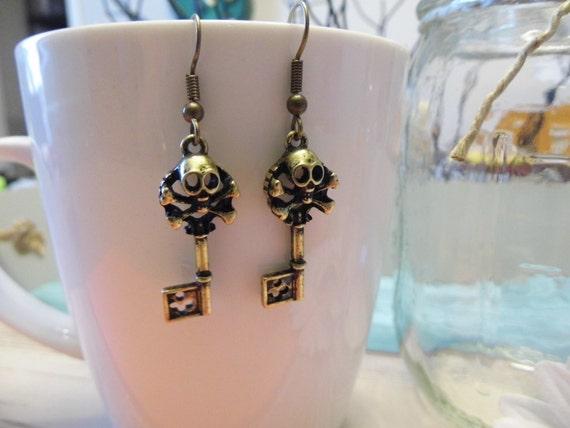 Brass Skeleton Key Earrings
