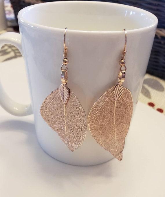 Large Leaf Detailed Metallic Dangle Earrings