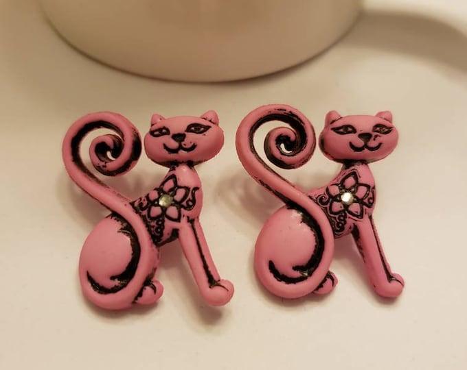 Filigree Pink Kitty Stud Earrings
