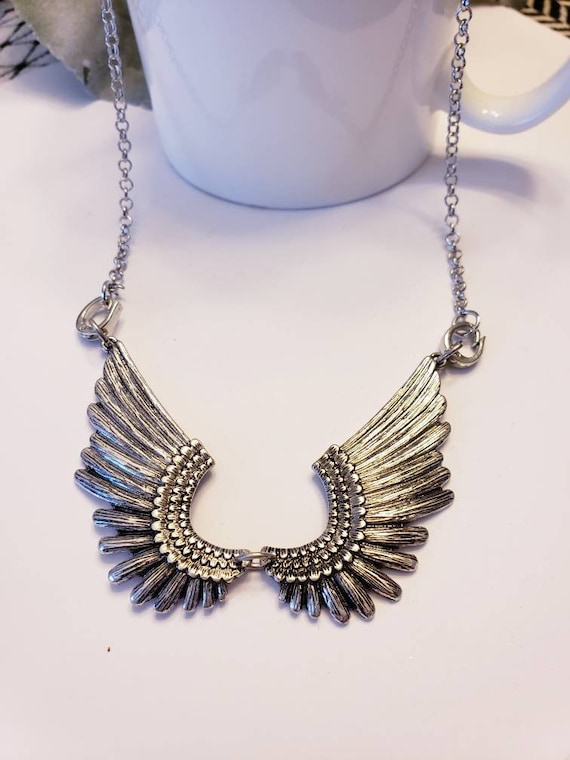 Silver Angel Wing Bib Necklace