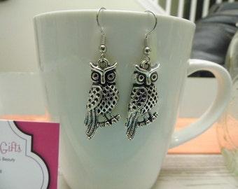 Owl on a Branch Silver Dangle Earrings