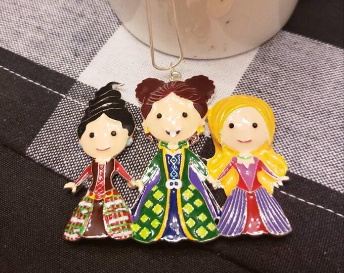 Sanderson Sister Witch Trio Enamel Pendant Silver Necklace