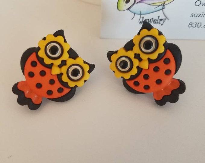 Halloween Owls, Stars & Witch Hats Button Stud Earrings