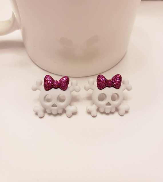 Skulls & Bows Stud Earrings