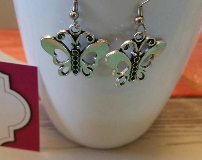 Silver Butterfly Charm Dangle Earrings