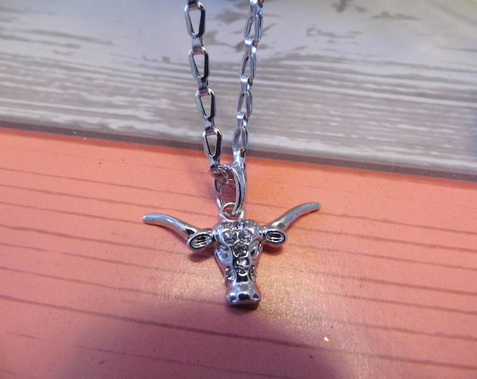 Crystal Longhorn Charm Pendant Necklace