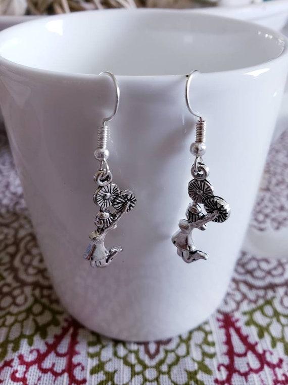 Cheerleader Pom Pom Silver Dangle Earrings