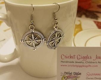 Stranger Things Inspired Compass Silver Dangle Earrings