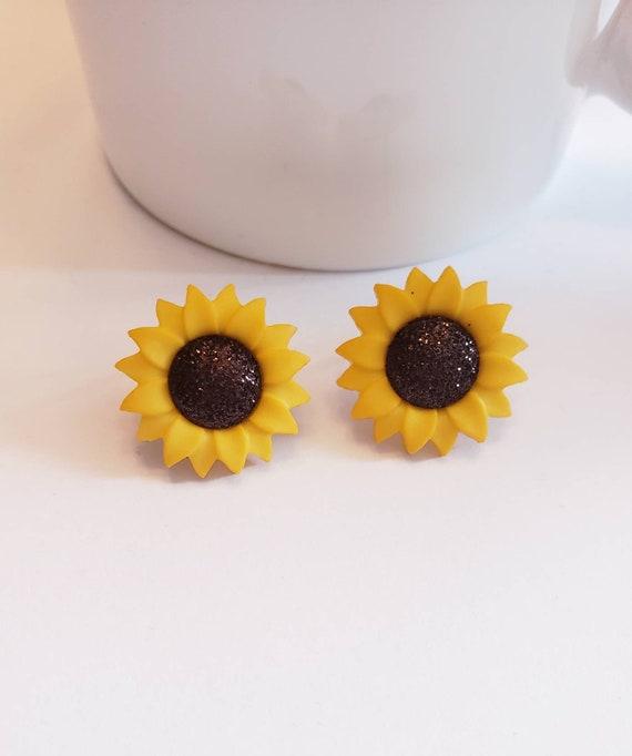 Glitter Sunflower Fall Stud Earrings