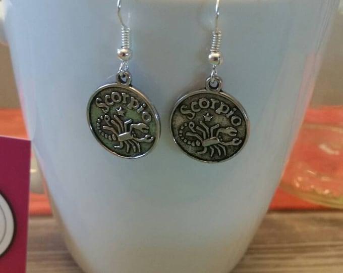 Zodiac Sign Charm Dangle Earrings, Silver or Gold