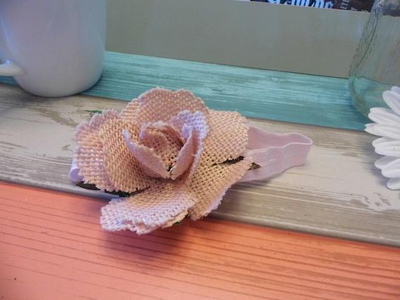 Burlap Pink Rose Headband