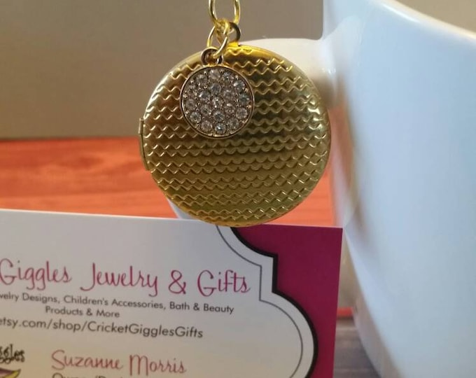 Gold Patterned Round Locket With Charm Accent Necklace