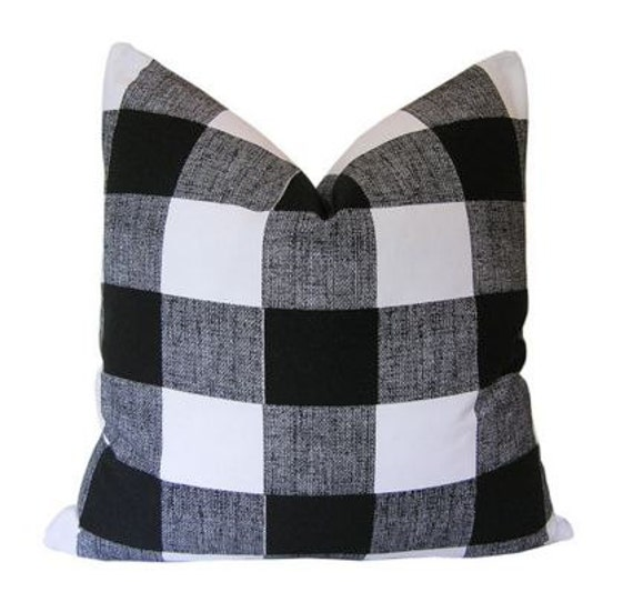 Black And White Checkered Down Feather Pillow Etsy