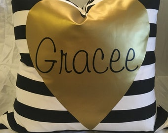 Custom Gold Heart Name Pillow with Down Feather Insert
