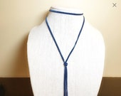 Lariat Necklace, Blue Cho...