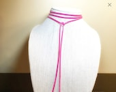 Lariat Necklace, Pink Cho...