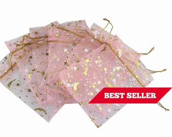 Moon Stars Organza Bags 35 X 47 Best Selling Item Baby Pink Light Wholesale Lot Pack Drawstring Pouches Party Favor Gift