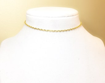 Etsy Gold Thin Choker Necklace 2x3mm Best Selling Item Gifts Under 5 Dollars Birthday Free Shipping
