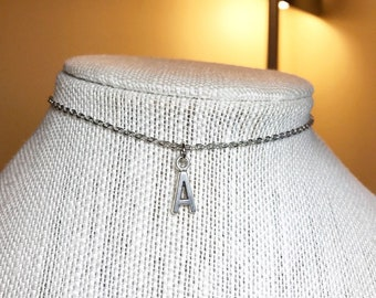 Etsy Nickel Silver Thin Letter Choker Necklace 2x3mm Best Selling Item Gifts Under 5 Dollars Birthday