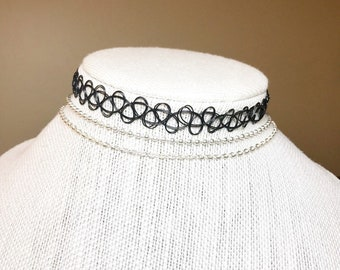Choker Set Of 3 Black Chokers Shiny Silver Thin Necklace 2x3mm Best Selling Item Gifts Under 5 Dollars Birthday
