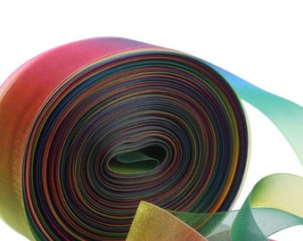 "10 Yards New Colorful Rainbow SUNBEAM Sheer Ribbon 1 1//2/""W"