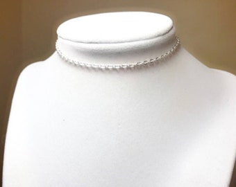 Etsy Shiny Silver Thin Choker Necklace 2x3mm Best Selling Item Gifts Under 5 Dollars Birthday