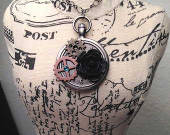 Steampunk gears and black rose necklace