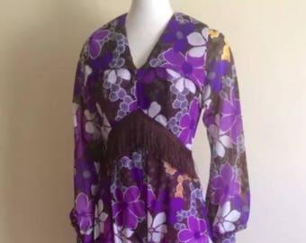 Original Vintage 70s Jumpsuit Pantsuit , Pinup Boho retro , pyscadelic , Flower Power
