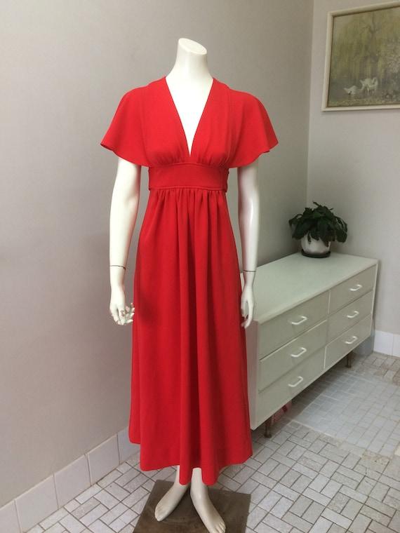 Original Vintage 70s Dress, Red Maxi Dress, Party