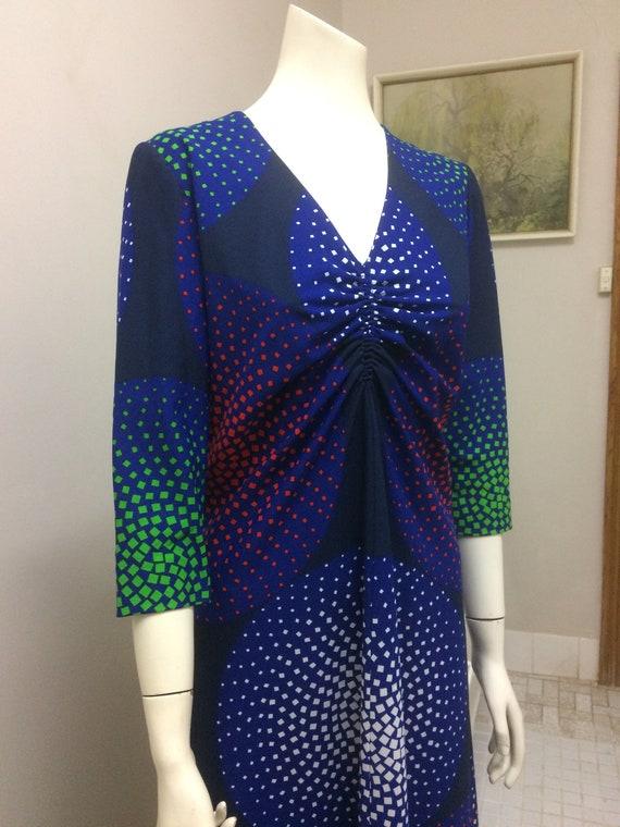 Original Vintage 60s 70s  Dress , Psychedelic Max… - image 3