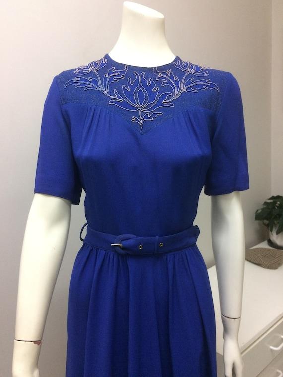 Original Vintage 30s 40s Beaded Dress , Blue Crepe
