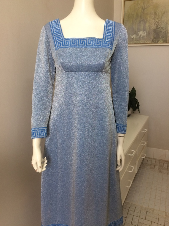 Original Vintage 60s Lurex Maxi Dress , Silver Blu