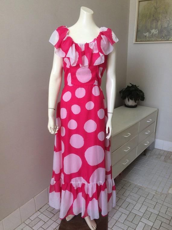 Original Vintage 60s Dress, Maxi Dress ,Polka Dots